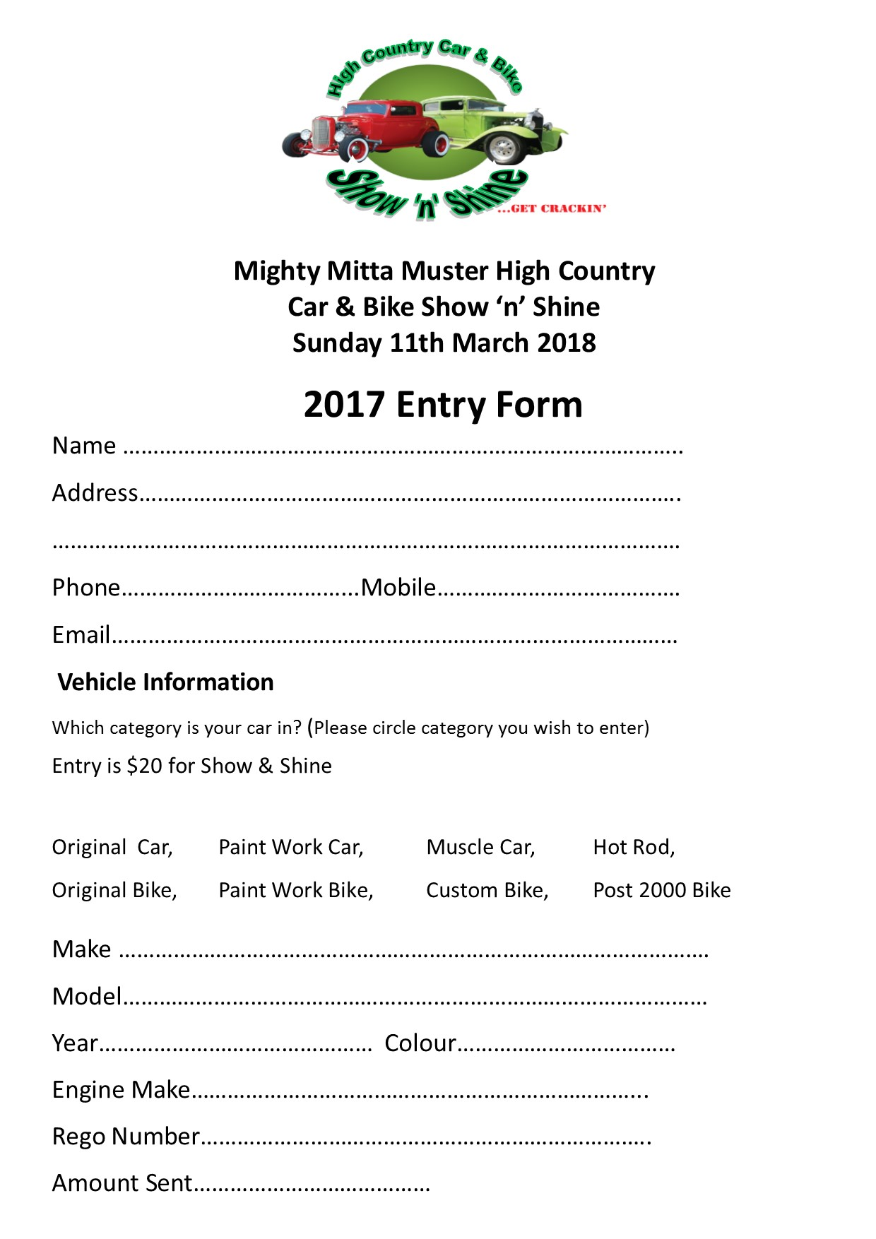 2018 Show & shine Entry Form. 1pub