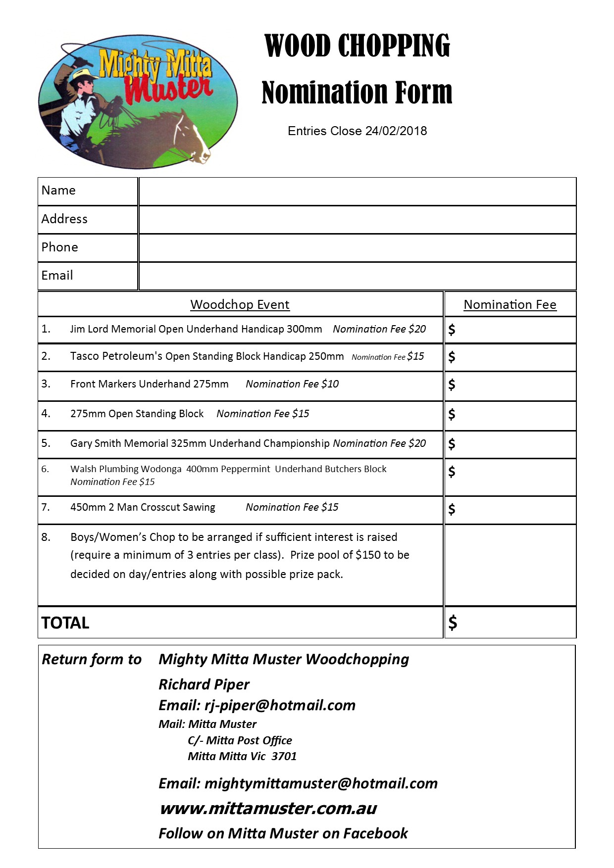 Wood chopping entry form 2018